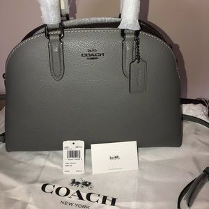 COACH Womens Quinn Satchel Polished Pebble Leather